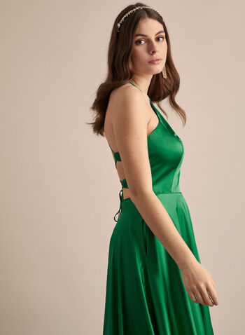 Apron Neck Satin Dress, Green,  prom dress, gown, a-line, satin, apron neck, crisscross, pockets, slit, train, full length, spring summer 2020