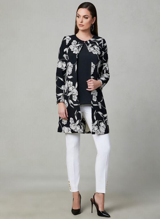 Veste longue à imprimé floral, Noir, hi-res