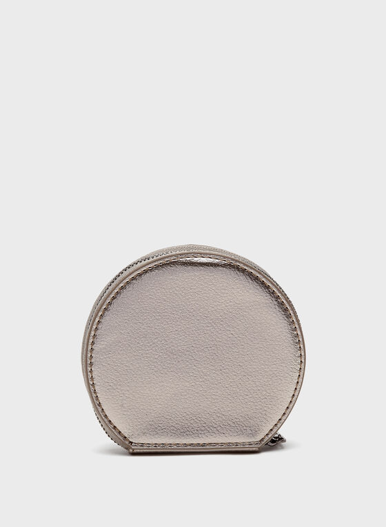Metallic Bow Detail Coin Purse, Grey, hi-res