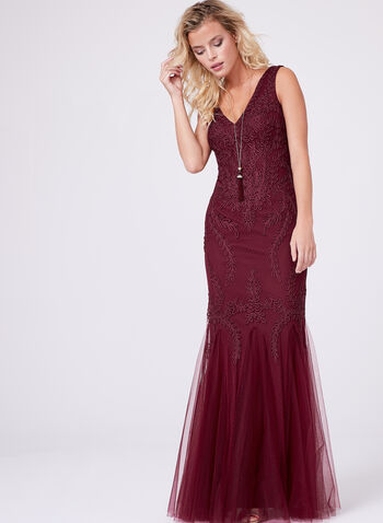 Embroidered Mesh Mermaid Gown , Red, hi-res