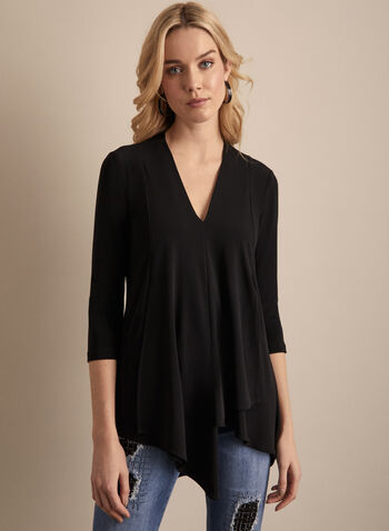 Joseph Ribkoff - Asymmetrical V-Neck Tunic, Black,  top, tunic, v-neck, 3/4 sleeves, jersey, asymmetrical, layered, spring summer 2020