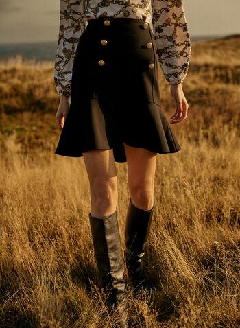 Jupe à détails boutonnés, Noir,  plis, plissée, effet plissé, boutons, point de Rome, jupe courte, automne hiver 2020