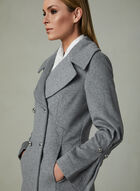 Karl Lagerfeld Paris – Double Breasted Wool Coat, Grey, hi-res