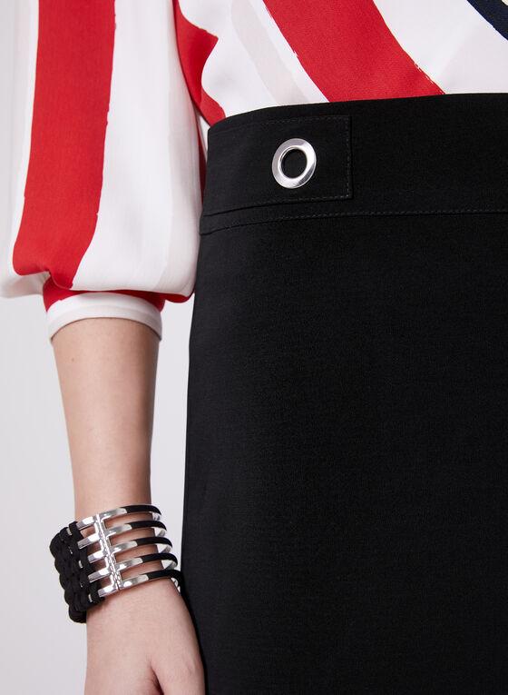 Wide Leg Grommet Detail Culottes, Black, hi-res