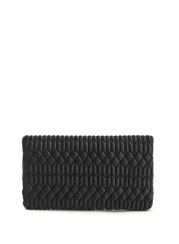 Quilted Velvet Clutch, Black, hi-res