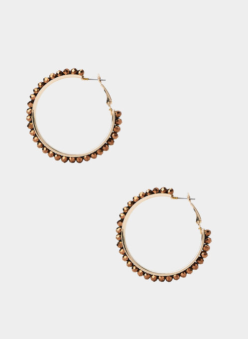 Beaded Hoop Earrings, Brown