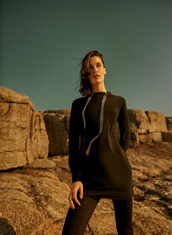 Joseph Ribkoff - Hooded Jersey Tunic, Black,  made in Canada, online exclusive, Joseph Ribkoff, Frank Lyman, top, tunic, long sleeves, hood, stud detailing, jersey, fall winter 2021