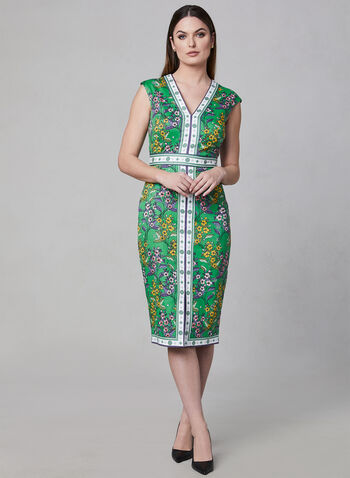Maggy London - Floral Print Dress, Green, hi-res