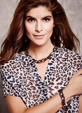 Leopard Print Sheer Blouse, , hi-res