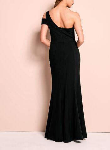 Robe de soirée peplum à épaule dénudée, Noir, hi-res