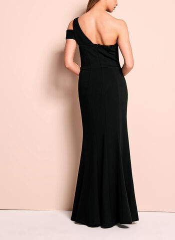 One Shoulder Peplum Crepe Gown, Black, hi-res