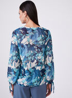 Floral Print Chiffon Blouse, Brown, hi-res