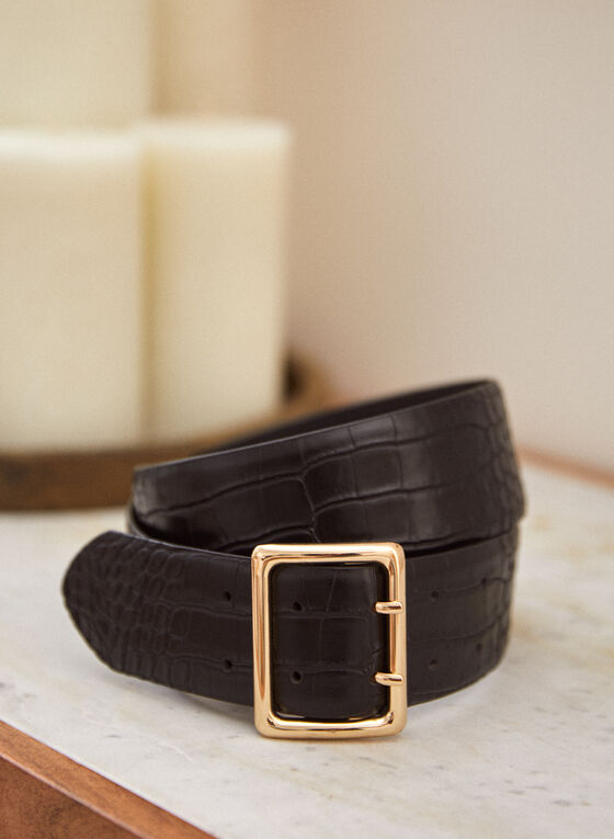 Large Leather Belt, Black