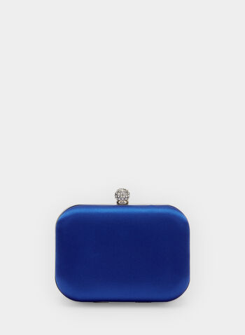 Satin Box Clutch, Blue, hi-res