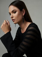Pointelle Knit Long Sleeve Sweater, Black, hi-res