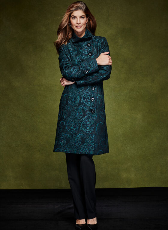 Stand Collar Tapestry Coat, Green, hi-res