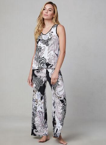 Pyjama 2 pièces motif cachemire, Brun,  pyjama, pantalon, débardeur, cachemire, jersey, printemps été 2019