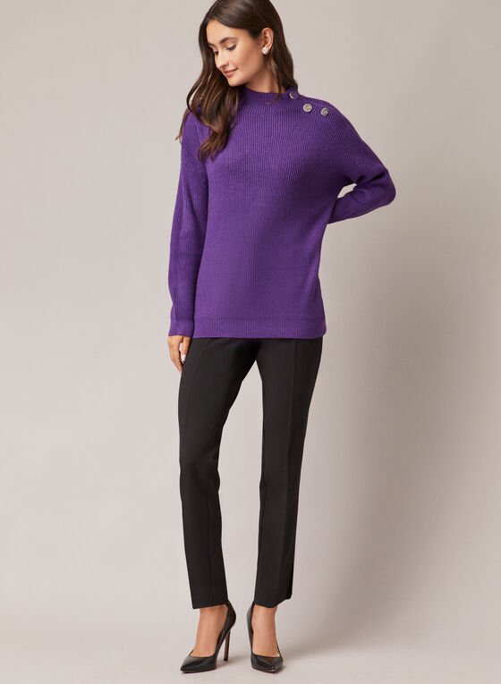 Button Detail Mock Neck Sweater, Purple