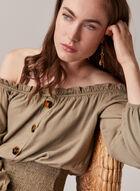Linen Blend Bardot Neckline Blouse, Green