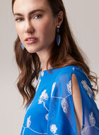 Floral Embroidered Chiffon Blouse, Blue