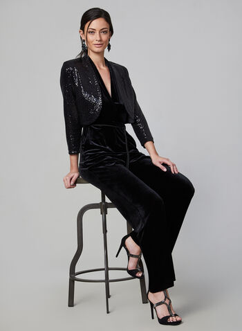 Eliza J - Open Front Sequin Bolero , Black,  bolero, open front, 3/4 sleeves, sequins, shoulder pads, fall 2019