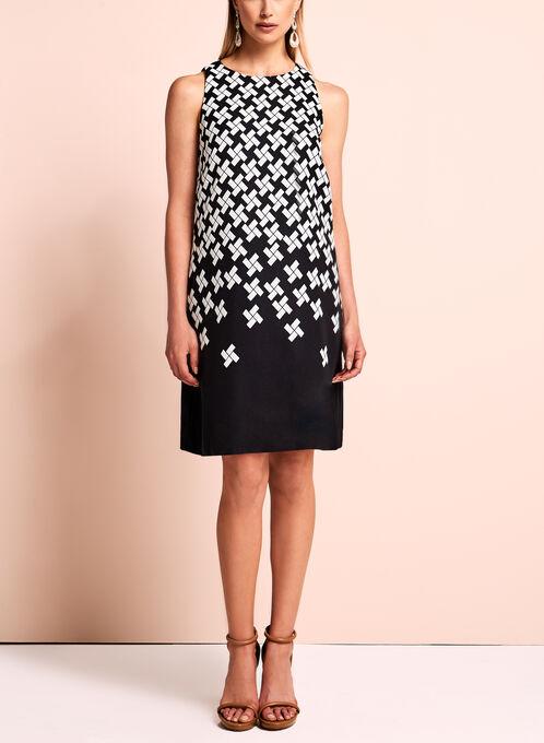 Tahari - Robe à motif géométrique, Noir, hi-res