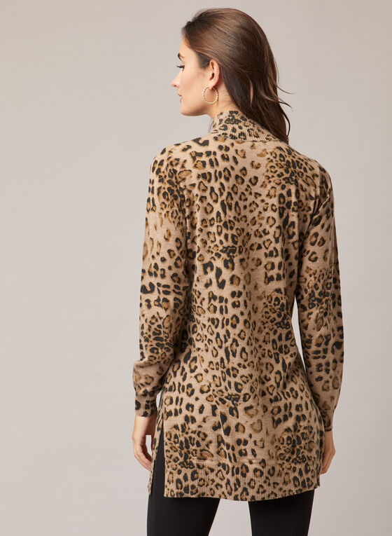 Alison Sheri - Leopard Print Sweater, Brown