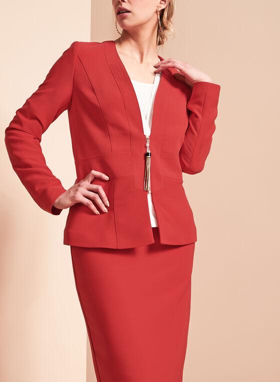Tassel Trim Zip Front Jacket , Red, hi-res