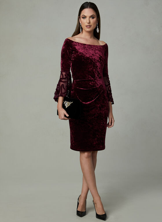 Cachet - Velvet Bell Sleeve Dress, Purple, hi-res