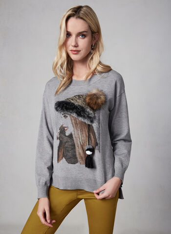 Gabby Isabella - Printed Sweater, Grey,  sweater, knit, long sleeves, fall 2019, winter 2019