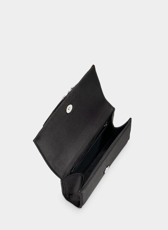 Pochette à rabat à détails cristaux, Noir, hi-res