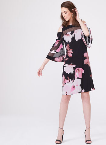 Frank Lyman – Floral Print Bell Sleeve Mesh Yoke Dress, Multi, hi-res