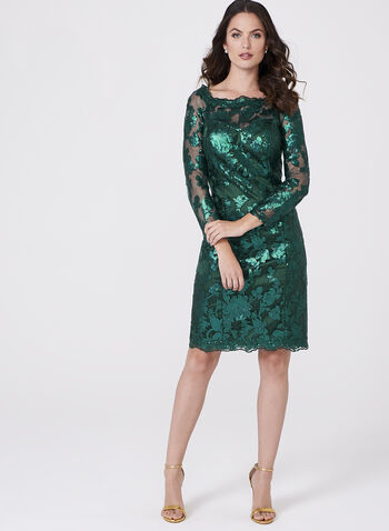 Decode 1.8 - Sequin Lace Sheath Dress, Green, hi-res