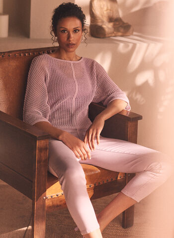 Open Weave Knit Sweater, Purple,  sweater, knit, boat neck, 3/4 sleeves, open knit, spring summer 2021