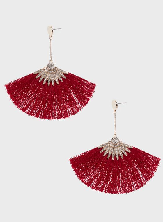 Boucles d'oreilles avec pendants éventail, Rouge, hi-res