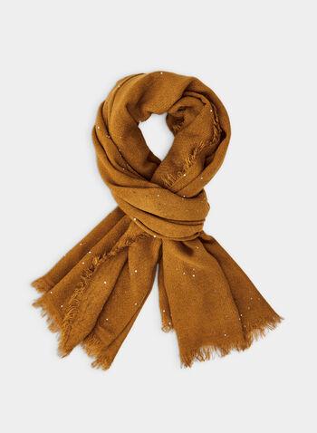 Foulard pashmina à détails sequins, Jaune,  foulard, pashmina, sequins, franges, automne hiver 2019