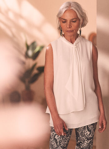 Sleeveless Tie Neck Blouse, Off White,  top, sleeveless, tie neck, blouse, layered, chiffon, asymmetric, keyhole, spring summer 2020