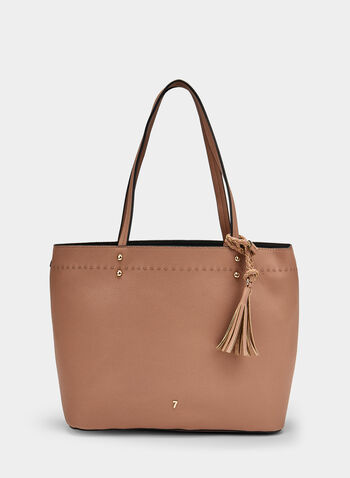 Faux Leather Tote Bag, Off White, hi-res,  tassels, spring 2019