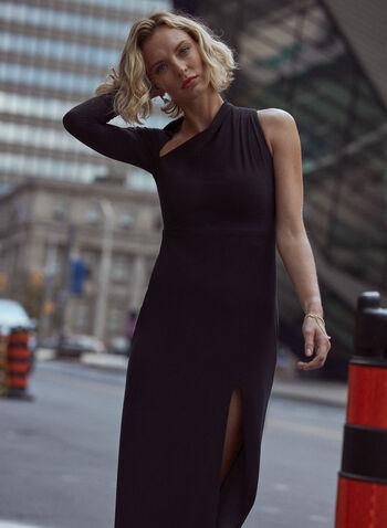 Asymmetric Neckline Dress, Black,  evening dress, jersey, asymmetric, high slit, fall winter 2021