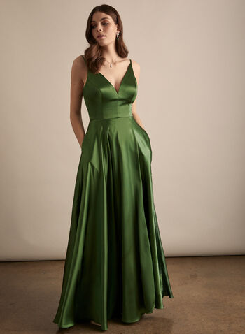 BA Nites - V-Neck Satin Dress, Green,  prom dress, gown, v-neck, spaghetti straps, satin, lace-up, pockets, train, spring summer 2020