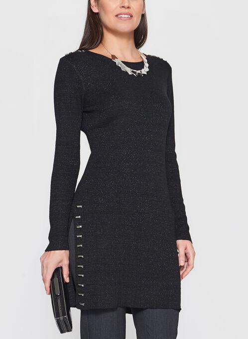Pull brillant style tunique à détails métalliques, Noir, hi-res