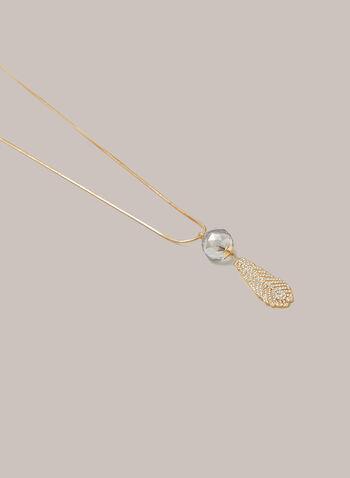 Collier à pendentif bille et feuille, Or,  automne hiver 2020, collier, chaîne, accessoire, bijou, pendentif, cristaux