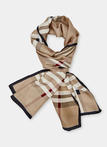 Plaid Print Scarf, Brown, hi-res
