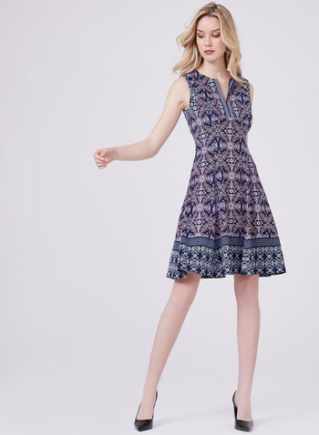 Maggy London- Fit and Flare Floral Print Dress, Blue, hi-res