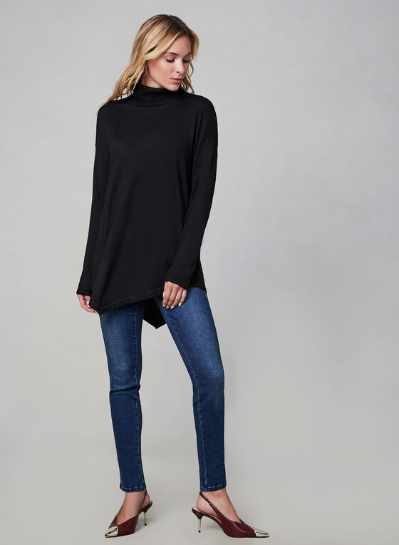 Asymmetric Turtleneck Knit Sweater, Black, hi-res