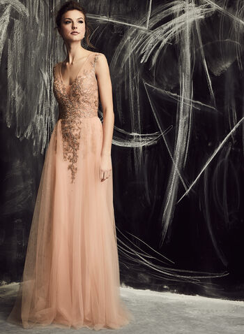 Xscape - Rhinestone Embellished Chiffon Gown , Pink, hi-res