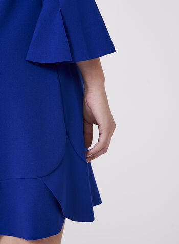 Maggy London - Ruffle Trim Crepe Dress, Blue, hi-res