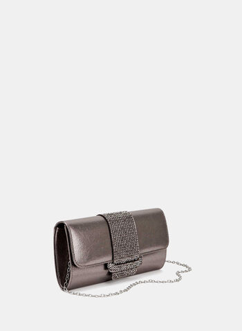 Metallic Flapover Clutch , Grey, hi-res