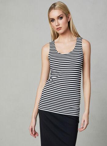 Stripe Print Camisole, Blue, hi-res