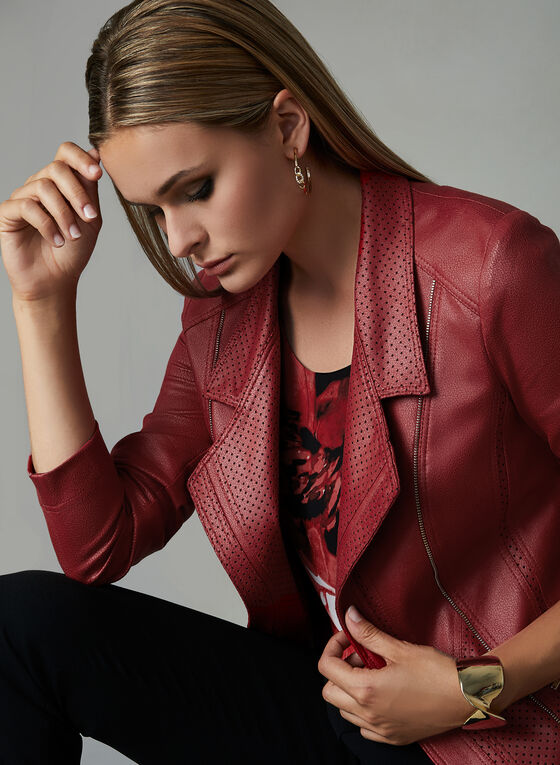 Vex - Faux Leather Jacket, Red, hi-res
